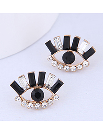 Fashion Black And White 925 Silver Needle Eyebrow Earrings