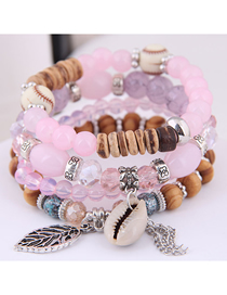 Fashion Pink Metal Leaf Conch Fringed Beaded Multi-layer Bracelet