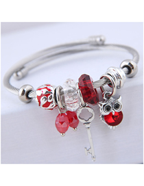 Fashion Red Metal Key Owl Bracelet