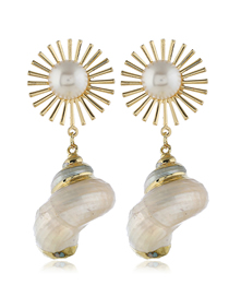 Fashion Gold Metal Sun Flower Conch Earrings