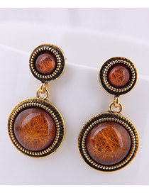Fashion Coffee Color Gemstone Earrings