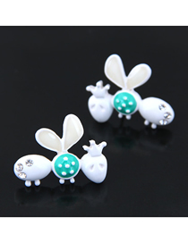 Fashion White Ladybug Earring