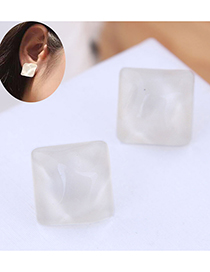 Fashion White Resin Square Earrings