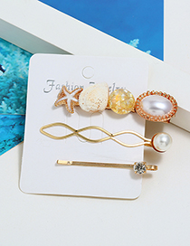 Fashion Yellow Sea Star Shell Pearl Hair Clip Three-piece