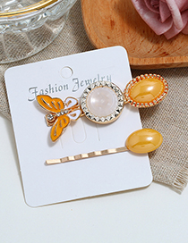 Fashion Yellow Butterfly F Hairpin Two-piece Set