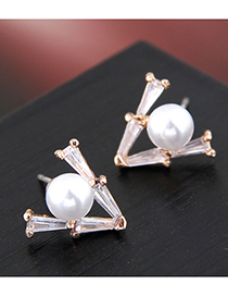 Fashion Gold 925 Silver Triangle Pearl Stud Earrings