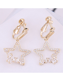 Fashion Gold Copper Micro-inlaid Zircon Lucky Star Ear Clip