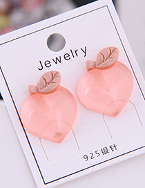 Fashion Transparent Orange 925 Silver Needle Peach Acrylic Stud Earrings