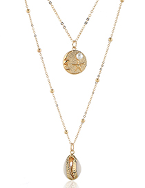 Fashion Gold Metal Seashell Double Necklace