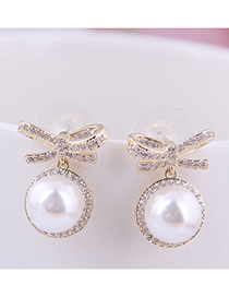 Fashion Gold 925 Silver Needle Bow Pearl Stud Earrings