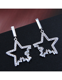 Fashion Silver 925 Silver Needle Copper Micro-inlaid Zircon Lucky Star Stud Earrings