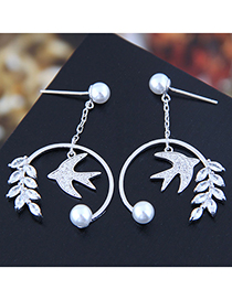Fashion Silver 925 Silver Needle Copper Micro-inlaid Zircon Bird Earrings