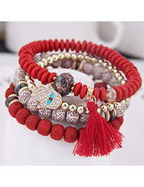 Fashion Red Metal Flash Diamond Eyebrow Beads Multi-layer Bracelet