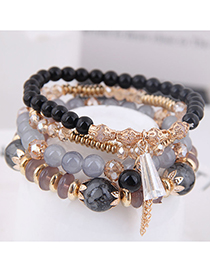 Fashion Black Crystal Beads Multilayer Bracelet