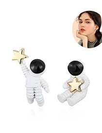 Fashion White 925 Silver And Silver Needle Astronaut Earrings