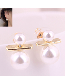 Fashion Gold 925 Silver Pin Size Pearl Earrings
