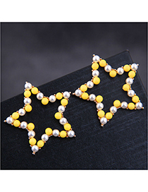 Fashion Yellow Pentagram Ear Stud