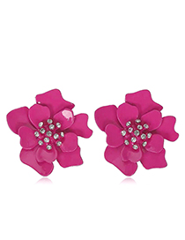 Fashion Rose Red Metal Contrast Color Flash Diamond Flower Earrings