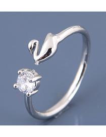 Fashion Silver Zircon Goose Open Ring
