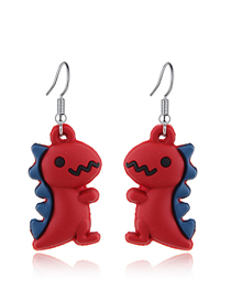 Fashion Red (3 Pairs Of Prices) Small Dinosaur Earrings