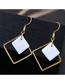 Fashion Gold Shell Geometric Shape Square Earrings