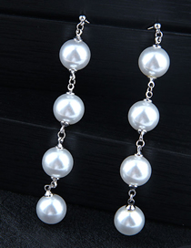 Fashion Silver Copper Inlaid Pearl Stud Earrings