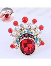 Fashion Red Metal Peking Opera Flower Mask Ring
