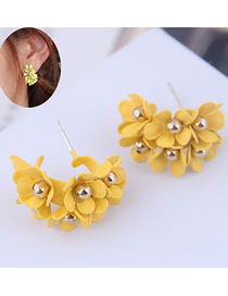 Fashion Yellow 925 Silver Needle Bud Earrings