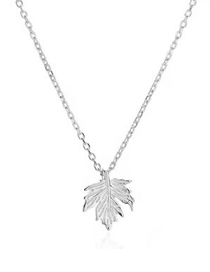 Fashion Silver Copper Plated Real Gold Maple Leaf Necklace