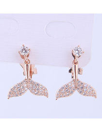 Fashion Gold Copper Micro-inlaid Zircon Fish Tail Earrings