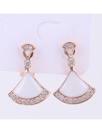 Fashion Rose Gold Copper Micro-inlaid Zircon Shell-shaped Earrings