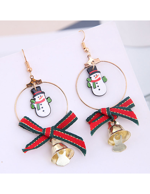 Fashion Gold Circle Bow Bell Christmas Series Earrings