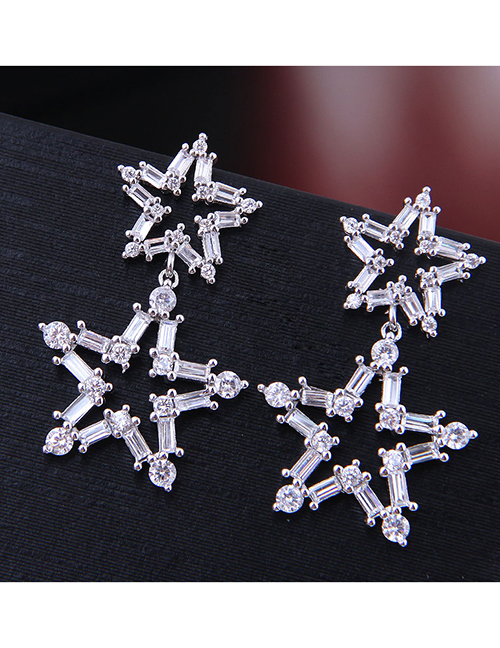 Fashion Silver Copper Micro Inlaid Zircon Shining Star Stud Earrings