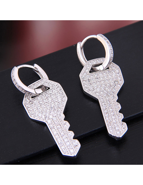 Fashion Silver Copper Micro Inlaid Zircon Key Stud Earrings