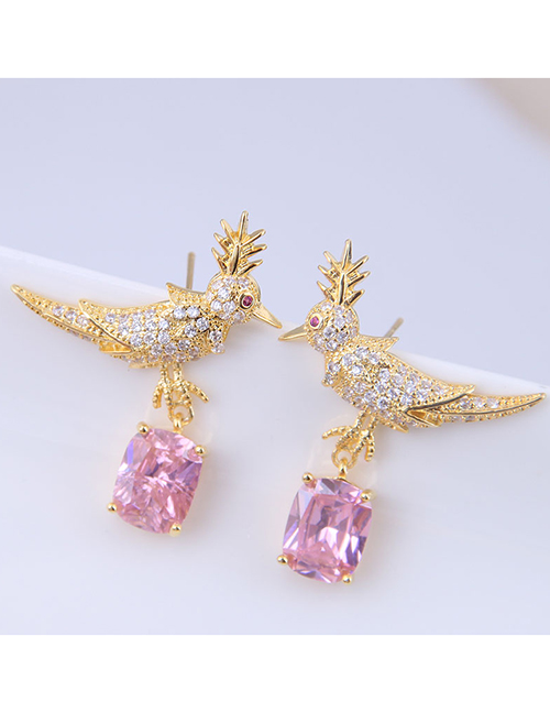 Fashion Pink Copper Micro Inlaid Zircon Bird Earrings