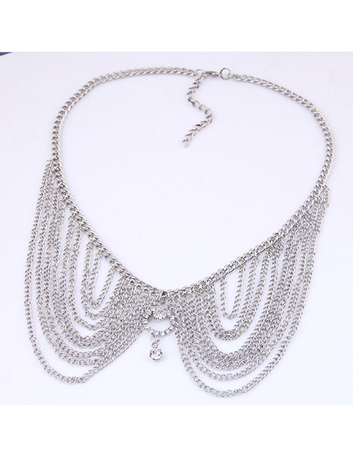 Fashion Silver Metal Multi-layer Tassel Collar Necklace