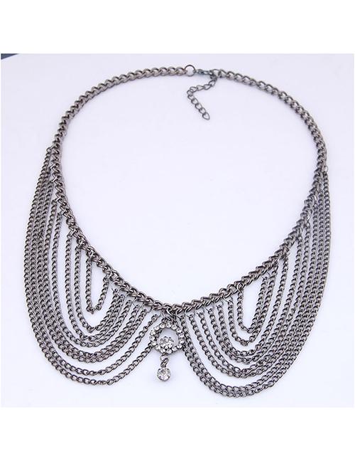 Fashion Gun Black Metal Multi-layer Tassel Collar Necklace