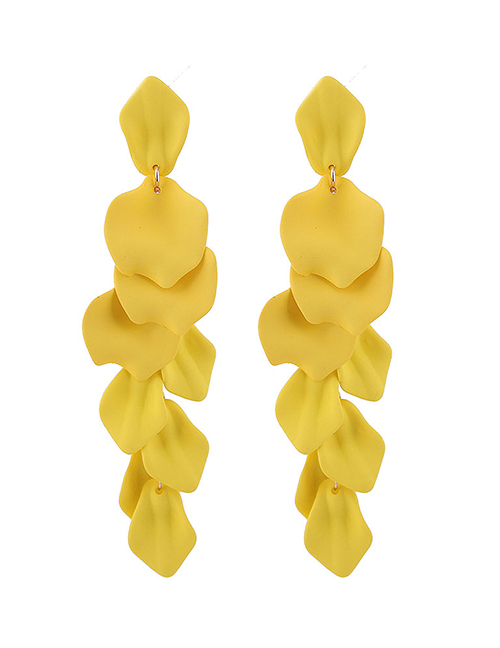 Fashion Yellow Exquisite Earrings With Rose Petals