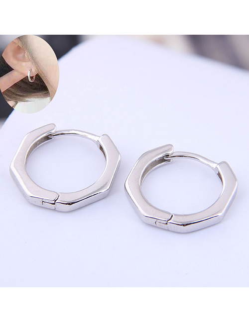 Fashion Silver Sweet And Simple Polygonal Earrings