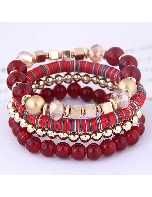 Fashion Crimson Mix And Match Multi-accessory Multi-layer Bracelet