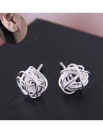 Fashion Silver Copper Plated Gold Plated Ball Stud Earrings