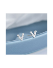 Fashion Silver Copper Plated Gold V-shaped Earrings