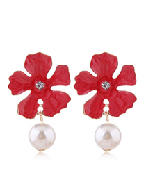 Fashion Red Metal Flower Pearl Earrings