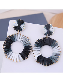Fashion Black + White Metal Braided Geometric Stud Earrings