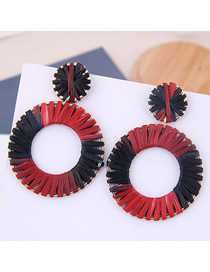 Fashion Red + Black Metal Braided Earrings