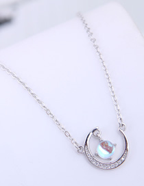 Fashion Silver Copper Plated Real Gold Crescent Necklace