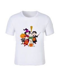 Fashion White Cartoon Printed Pumpkin Children's T-shirt