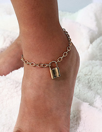 Fashion Gold Geometric Lock Anklet