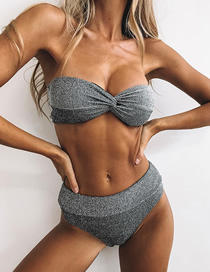Fashion Silver Gold And Silver High Waist Split Swimsuit