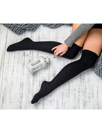 Fashion Black Pure Color Tube Pile Wool Socks